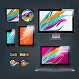 Het moderne ontwerp van het toepassingsmalplaatje voor collectieve identiteit Van de computertablet en telefoon reeks Royalty-vrije Stock Foto