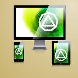 Het moderne ontwerp van het toepassingsmalplaatje voor collectieve identiteit Van de computertablet en telefoon reeks Stock Fotografie