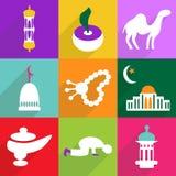 Het moderne ontwerp van Webpictogrammen voor de mobiele vastgestelde Ramadan van het schaduwpictogram Stock Afbeelding