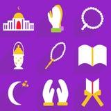 Het moderne ontwerp van Webpictogrammen voor de mobiele vastgestelde Ramadan van het schaduwpictogram Royalty-vrije Stock Afbeelding
