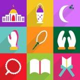 Het moderne ontwerp van Webpictogrammen voor de mobiele vastgestelde Ramadan van het schaduwpictogram Stock Afbeeldingen