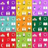 Het moderne ontwerp van Webpictogrammen voor de mobiele vastgestelde Ramadan van het schaduwpictogram Royalty-vrije Stock Fotografie