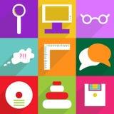 Het moderne ontwerp van Webpictogrammen voor het mobiele vastgestelde onderwijs van het schaduwpictogram Stock Foto