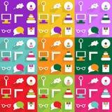 Het moderne ontwerp van Webpictogrammen voor het mobiele vastgestelde onderwijs van het schaduwpictogram Royalty-vrije Stock Foto's