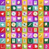 Het moderne ontwerp van Webpictogrammen voor het mobiele vastgestelde onderwijs van het schaduwpictogram Royalty-vrije Stock Afbeeldingen