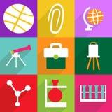 Het moderne ontwerp van Webpictogrammen voor het mobiele vastgestelde onderwijs van het schaduwpictogram Stock Afbeelding