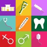 Het moderne ontwerp van Webpictogrammen voor mobiele vastgestelde medisch van het schaduwpictogram Stock Foto