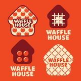 Het moderne professionele vector vastgestelde Huis van de embleemwafel in oranje thema stock foto's