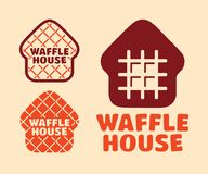 Het moderne professionele vector vastgestelde Huis van de embleemwafel in oranje thema royalty-vrije stock foto's