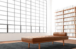 Het moderne reusachtige panoramische venster van de open plek binnenlandse zolder, natuurlijke kleurenvloer Generisch ontwerpmeub Royalty-vrije Stock Afbeelding