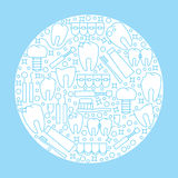 Het moderne ronde embleem of het embleem van de tandkliniek Pictogrammen van ziekte en tandenbehandeling Royalty-vrije Stock Afbeelding