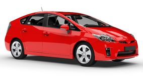 Het moderne rood van de familie hybride auto op een witte achtergrond met een schaduw ter plaatse het 3d teruggeven Royalty-vrije Stock Foto