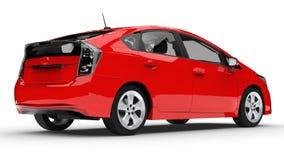 Het moderne rood van de familie hybride auto op een witte achtergrond met een schaduw ter plaatse het 3d teruggeven Stock Afbeeldingen