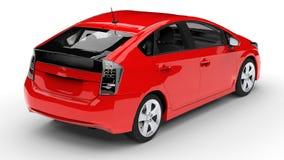 Het moderne rood van de familie hybride auto op een witte achtergrond met een schaduw ter plaatse het 3d teruggeven Stock Afbeelding