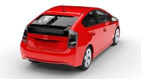 Het moderne rood van de familie hybride auto op een witte achtergrond met een schaduw ter plaatse het 3d teruggeven Royalty-vrije Stock Afbeelding