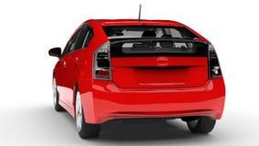 Het moderne rood van de familie hybride auto op een witte achtergrond met een schaduw ter plaatse het 3d teruggeven Stock Foto