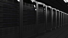 Het moderne serverruimte 3D teruggeven Wolkentechnologieën, ISP, collectieve IT, elektronische handel bedrijfsconcepten Royalty-vrije Stock Afbeeldingen
