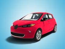 Het moderne sportieve elektrische rood van de autovijfdeursauto voor 3d familie geeft terug stock illustratie