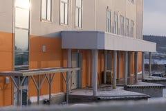 Het moderne staal van de de hemelwolkenkrabber van de de bouwvorm glanzende, stock afbeelding