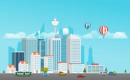 Het moderne stadsleven District met vervoer royalty-vrije illustratie