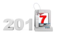 Het moderne Teken van het de druk Nieuwe 2017 Jaar van de Huis 3d printer het 3d teruggeven Stock Foto