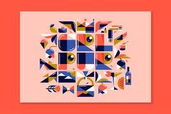 Het moderne van letters voorzien - meisjesmacht De affiche met girly ontwerpt elementen Royalty-vrije Stock Afbeeldingen