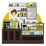 Het moderne Vlakke Binnenland van de de winkelkoffie van de Ontwerpkoffie Stock Afbeelding