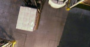 Het moderne vorkheftruck drijven door het pakhuis, het actieve werk in het pakhuis van de installatie stock videobeelden