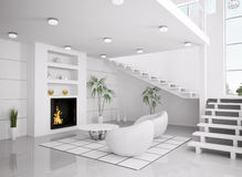 Het moderne witte 3d binnenland van woonkamer geeft terug royalty-vrije stock afbeeldingen