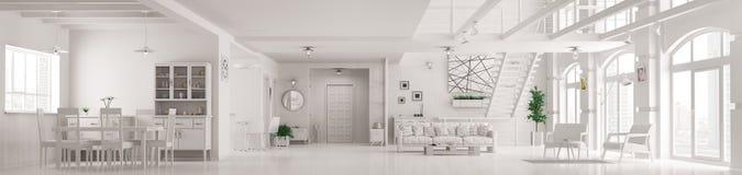 Het moderne witte binnenlandse 3d panorama van de zolderflat geeft terug royalty-vrije illustratie
