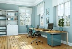 Het moderne witte binnenlandse het ontwerp van het huisbureau 3d Teruggeven Royalty-vrije Stock Fotografie