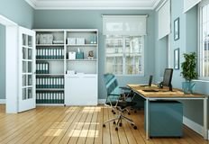 Het moderne witte binnenlandse het ontwerp van het huisbureau 3d Teruggeven Stock Afbeelding