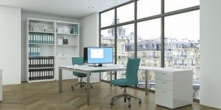 Het moderne witte binnenlandse het ontwerp van het huisbureau 3d Teruggeven Stock Fotografie