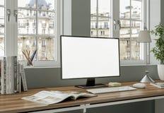 Het moderne witte binnenlandse het ontwerp van het huisbureau 3d Teruggeven Stock Foto's