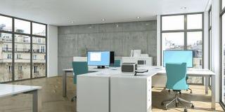 Het moderne witte binnenlandse het ontwerp van het huisbureau 3d Teruggeven Stock Foto