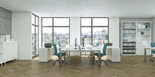 Het moderne witte binnenlandse het ontwerp van het huisbureau 3d Teruggeven Royalty-vrije Stock Foto