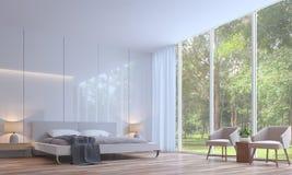 Het moderne witte 3D teruggevende Beeld van de Slaapkamer minimale stijl royalty-vrije illustratie