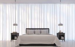 Het moderne witte 3D teruggevende Beeld van de Slaapkamer minimale stijl Royalty-vrije Stock Foto's