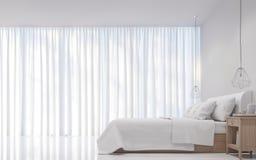 Het moderne witte 3D teruggevende Beeld van de Slaapkamer minimale stijl Royalty-vrije Stock Afbeeldingen