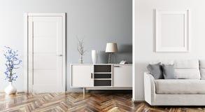Het moderne woonkamer binnenlandse 3d teruggeven royalty-vrije illustratie