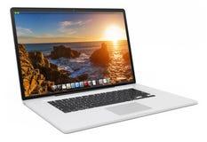 Het moderne zilveren laptop 3D teruggeven Royalty-vrije Stock Fotografie