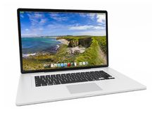 Het moderne zilveren laptop 3D teruggeven Royalty-vrije Stock Afbeelding