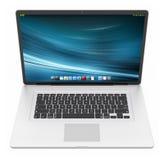 Het moderne zilveren laptop 3D teruggeven Stock Foto's