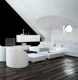 Het moderne zwart-witte binnenland van de zolderwoonkamer Stock Fotografie