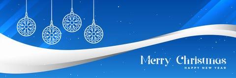 Het modieuze blauwe vrolijke ontwerp van de Kerstmisbanner stock illustratie