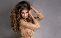 Het modieuze donkerbruine mooie vrouw stellen Royalty-vrije Stock Foto