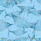 Het modieuze kleurrijke blauwe naadloze patroon van de vissenlijn Stock Afbeeldingen