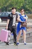 Het modieuze paar bezoekt Peking, China Royalty-vrije Stock Afbeeldingen