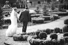 het modieuze paar van de huwelijksceremonie in de oude kerk Royalty-vrije Stock Fotografie