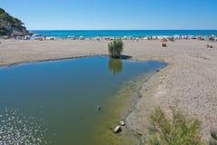 Het moerasland van de Canyamelrivier en zandig strand Royalty-vrije Stock Afbeeldingen